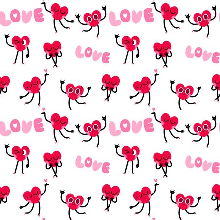 cute heart cartoon character greeting card,happy valentines day,seamless pattern background