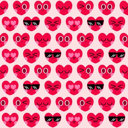 cute heart cartoon character greeting card, happy valentines day, seamless pattern background 일러스트