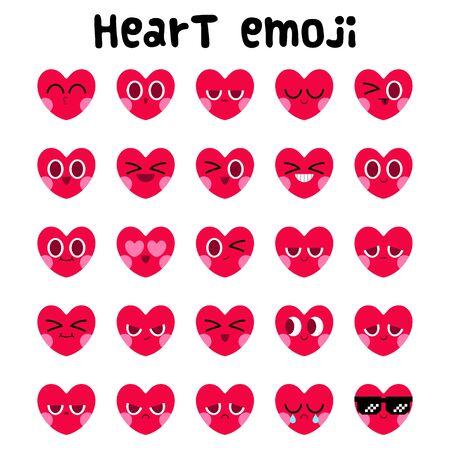 cute heart emoji set, Happy Valentine's day, heart cartoon character sticker