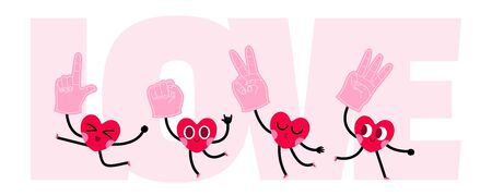 cute heart cartoon character greeting card,happy valentines day,heart character with foam hand
