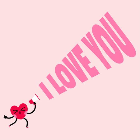 cute heart cartoon character greeting card,happy valentines day,i love you message 일러스트