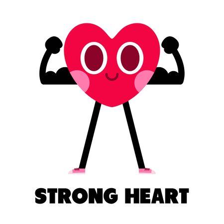 healthy heart cartoon character,strong heart illustration