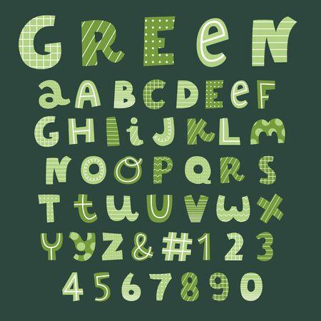 green decorative alphabet set,creative vector font
