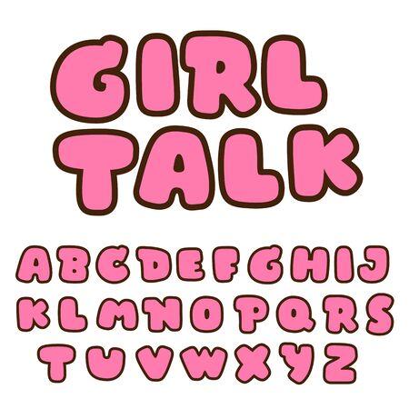 bold pink alphabet set, vector font, bubble font 일러스트