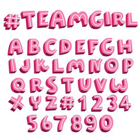 sweet pink alphabet set,3d vector font