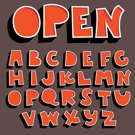 Orange 3D-Alphabet-Set, Vektorschrift mit Schatten
