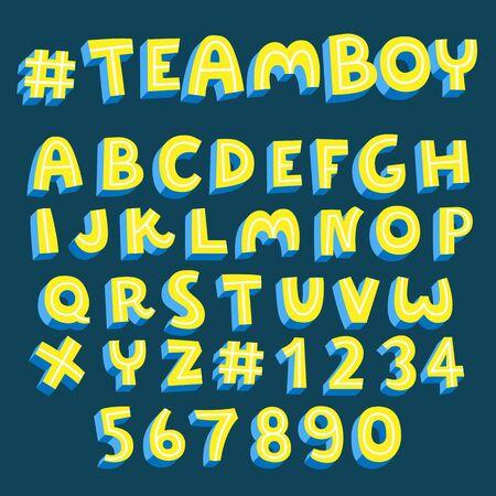 yellow alphabet set, 3d vector font 일러스트