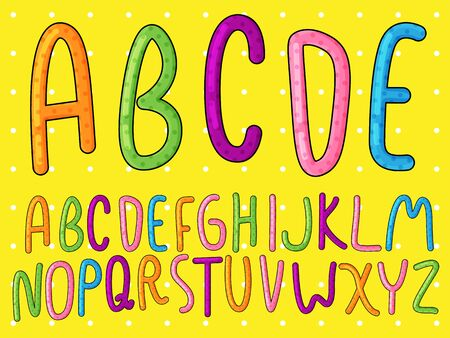 playful alphabet set,colorful vector font,summer font 일러스트