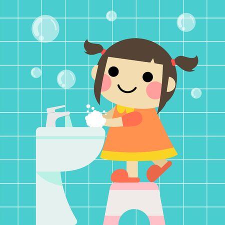 a little girl is washing hands cartoon illustration