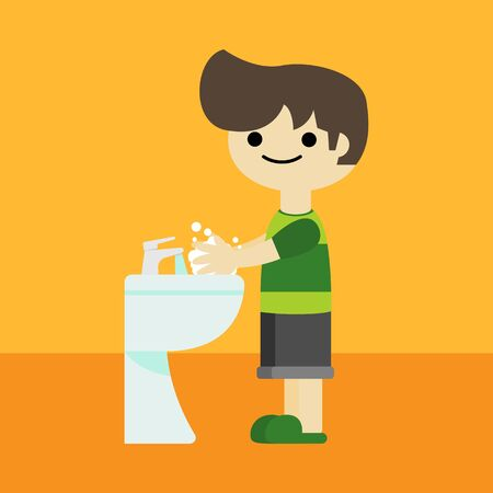 a boy is washing hands cartoon,vector illustration 일러스트