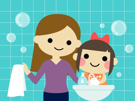 mother and daughter are washing hands vector illustration
