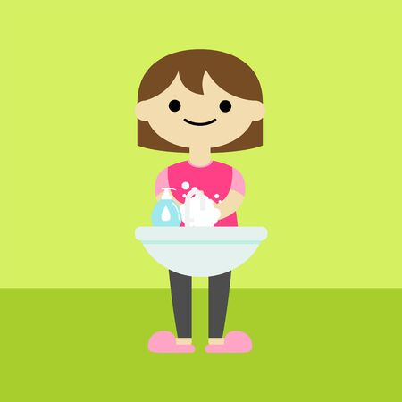 a girl is washing hands cartoon,vector illustration