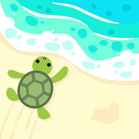 baby turtle is running to the ocean cartoon illustration