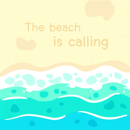 the beach is calling quote with beach illustration background