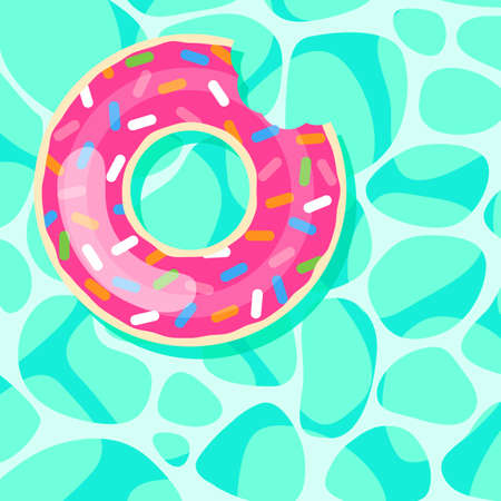 donut swim ring on the pool cartoon illustration