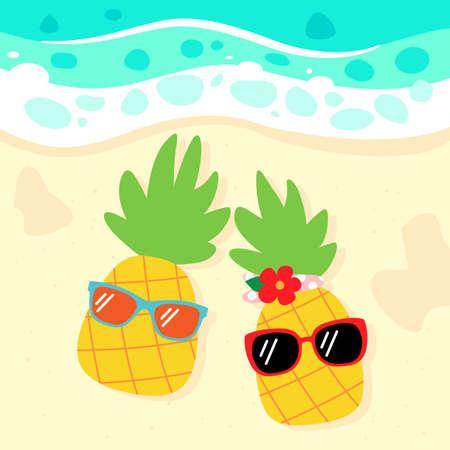 pineapples with sunglasses on the beach cartoon illustration 일러스트