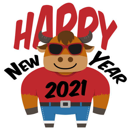 Happy Chinese New Year 2021 illustration,bull cartoon character