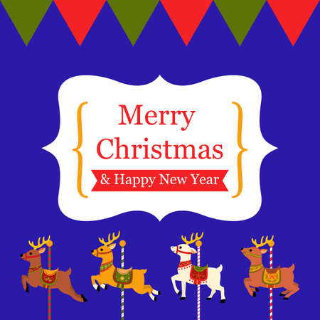 Merry Christmas card design,reindeer illstration