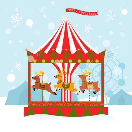 reindeer carousel christmas card 일러스트