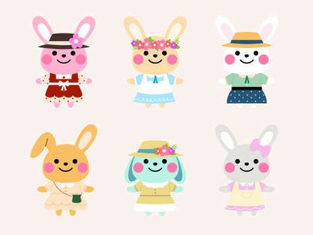 cute rabbit character design in vintage costume illustration
