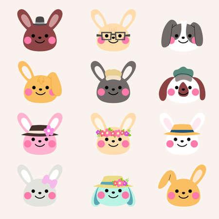 cute rabbit avatar illustration