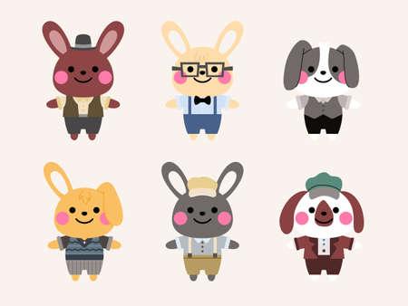rabbit character design in vintage costume illustration