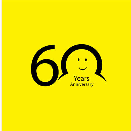 60 th anniversary numbers. years old yellow background logotype. Age congrats, congratulation idea. Isolated abstract graphic design template. Creative