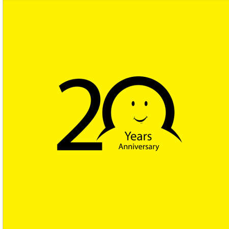 20 th anniversary numbers. years old yellow background logotype. Age congrats, congratulation idea. Isolated abstract graphic design template. Creative