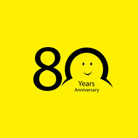 80 th anniversary numbers. years old yellow background logotype. Age congrats, congratulation idea. Isolated abstract graphic design template. Creative