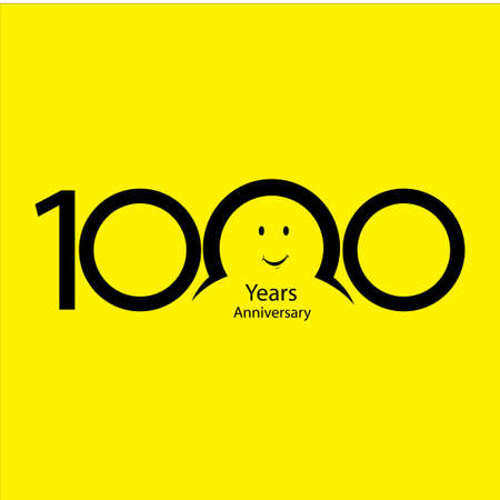 1000 th anniversary numbers. years old yellow background logotype. Age congrats, congratulation idea. Isolated abstract graphic design template. Creative