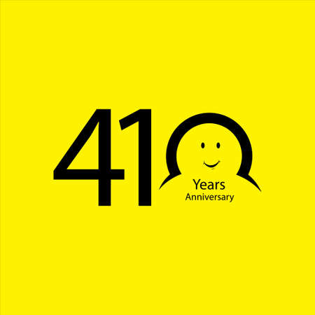 410 th anniversary numbers. years old yellow background logotype. Age congrats, congratulation idea. Isolated abstract graphic design template. Creative