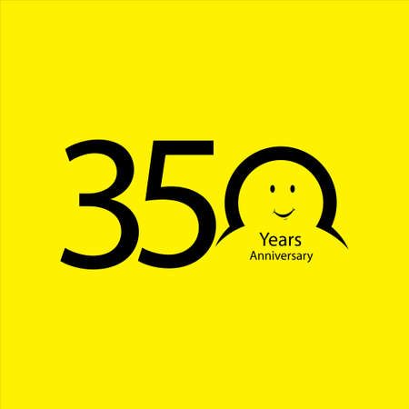 350 th anniversary numbers. years old yellow background logotype. Age congrats, congratulation idea. Isolated abstract graphic design template. Creative