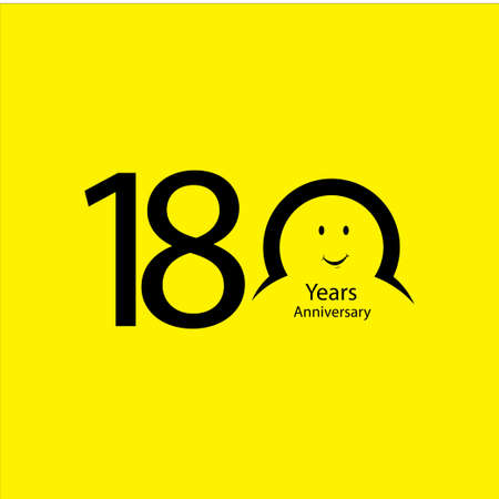 180 th anniversary numbers. years old yellow background logotype. Age congrats, congratulation idea. Isolated abstract graphic design template. Creative