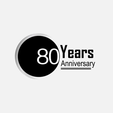 80 Year Anniversary Vector Template Design Illustration Back Circle White Background