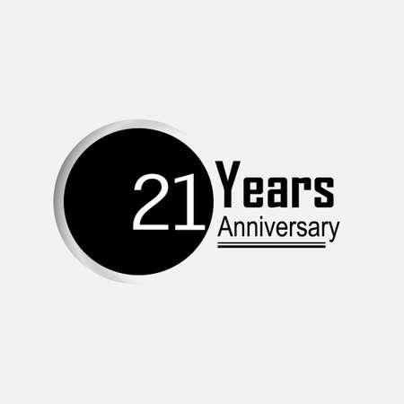 21 Year Anniversary Vector Template Design Illustration Back Circle White Background 向量圖像