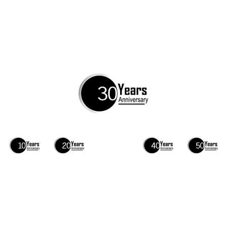 Set 30 Year Anniversary Vector Template Design Illustration Back Circle White Background