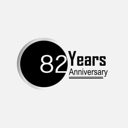 82 Year Anniversary Vector Template Design Illustration Back Circle White Background