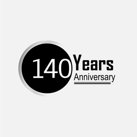 140 Year Anniversary Vector Template Design Illustration Back Circle White Background 向量圖像