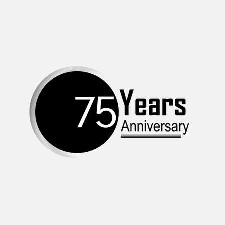 75 Year Anniversary Vector Template Design Illustration Back Circle White Background