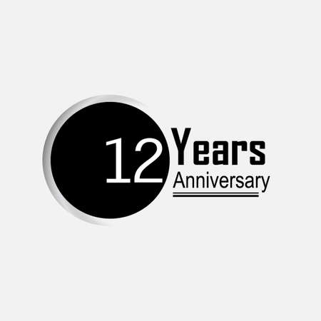 12 Year Anniversary Vector Template Design Illustration Back Circle White Background 向量圖像