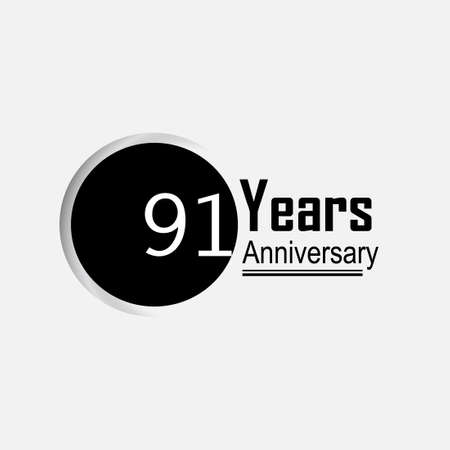 91 Year Anniversary Vector Template Design Illustration Back Circle White Background 向量圖像