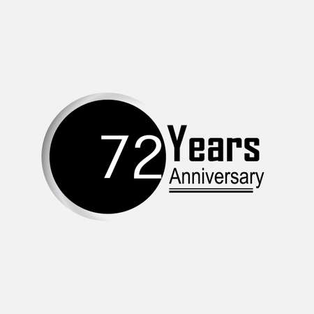 72 Year Anniversary Vector Template Design Illustration Back Circle White Background
