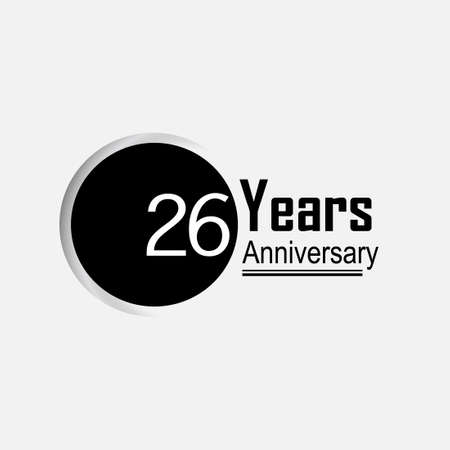 26 Year Anniversary Vector Template Design Illustration Back Circle White Background