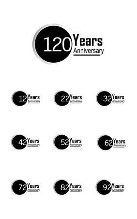 Set 120 Year Anniversary Vector Template Design Illustration Back Circle White Background 向量圖像