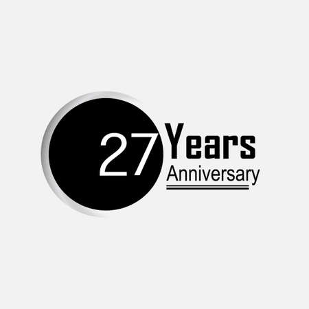 27 Year Anniversary Vector Template Design Illustration Back Circle White Background 向量圖像