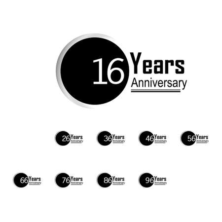 Set Year Anniversary Vector Template Design Illustration Back Circle White Background