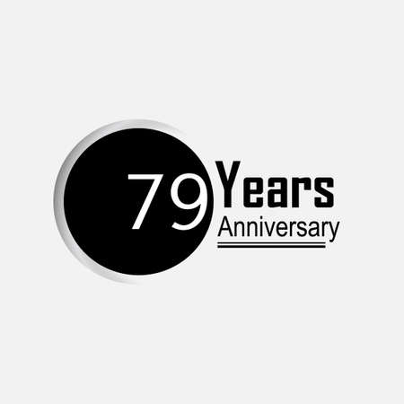 79 Year Anniversary Vector Template Design Illustration Back Circle White Background 向量圖像