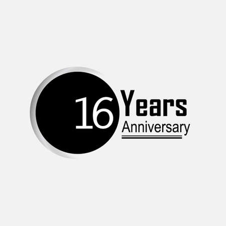 16 Year Anniversary Vector Template Design Illustration Back Circle White Background