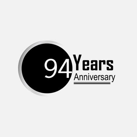 94 Year Anniversary Vector Template Design Illustration Back Circle White Background 向量圖像