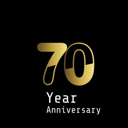70 Years Anniversary Celebration Gold Black Background Color Vector Template Design Illustration